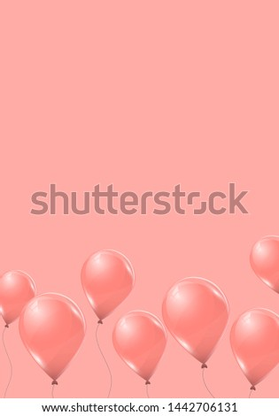 vector pink helium balloons on