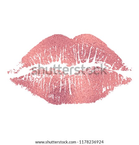 Vector pink lip imprint with rose golden texture isolated on white background. Decorative element for print or design.