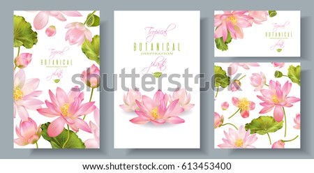 Vector pink lotus banners set with seamless pattern on white background. Romantic tender floral design for wedding invitation, natural cosmetics, spa, health care , ayurveda products, yoga center