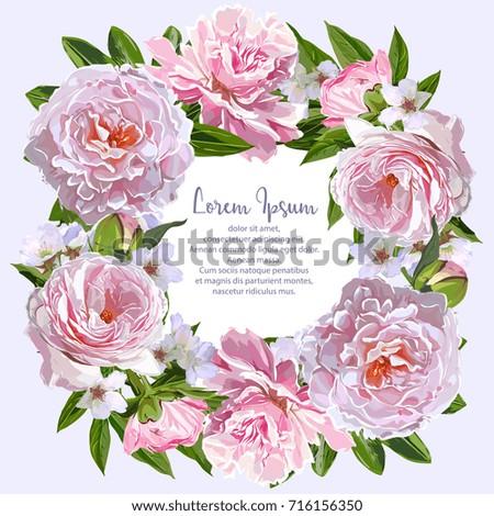 Vector Pink Peonies Wreath Frame Template