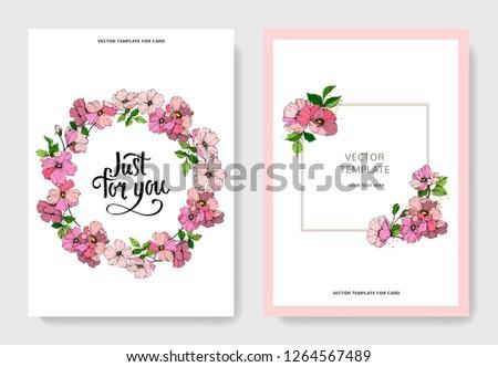 Vector Pink rosa canina. Floral botanical flower. Engraved ink art. Wedding background card floral decorative border. Thank you, rsvp, invitation elegant card illustration graphic set banner. #1264567489