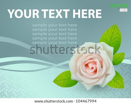 Vector pink rose on abstract background
