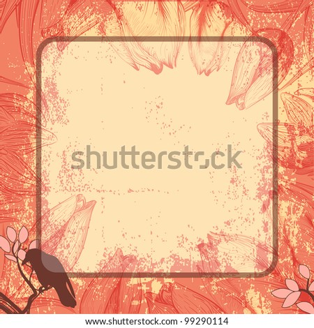 Vector pink square frame with tulips and crow