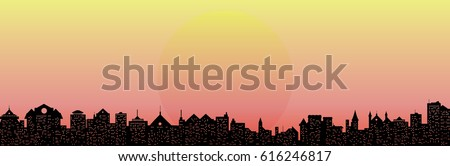 vector pink sunset and