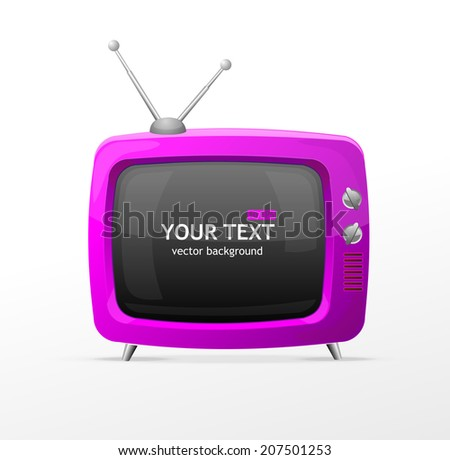 vector pink tv blank on white