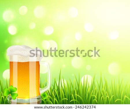 vector pint of beer on bokeh