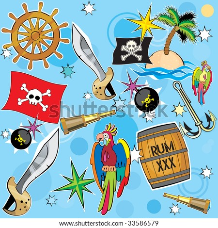 Vector Pirate background with all pirate attribute