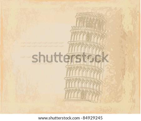vector pisa tower grunge background