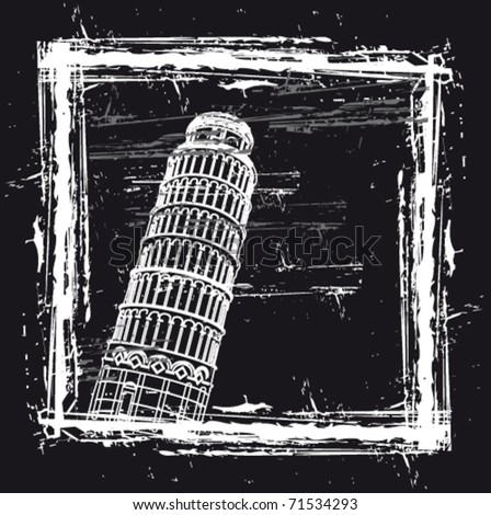 Vector Pisa tower in a framework - stock vector
