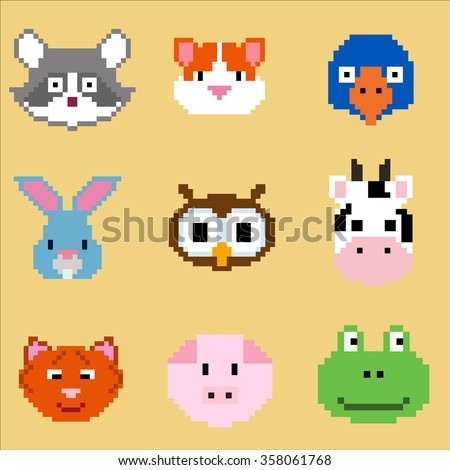 vector pixel animal faces