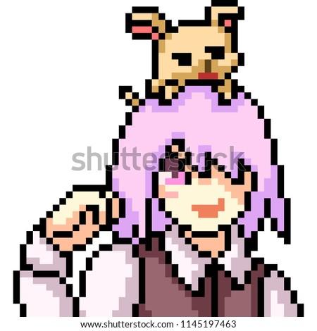 vector pixel art anime girl isolated cartoon