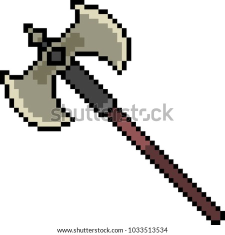 vector pixel art axe fantasy isolated cartoon