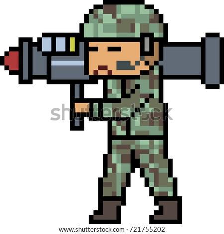 vector pixel art bazooka army