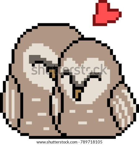 vector pixel art bird couple isolated