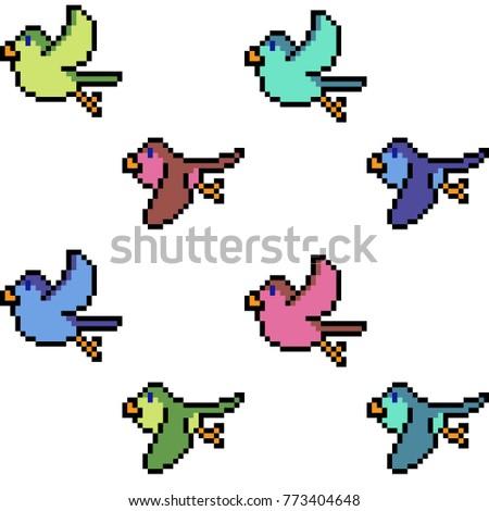 vector pixel art bird fly isolated