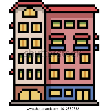 vector pixel art building city