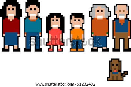 Vector Pixel art collection - family