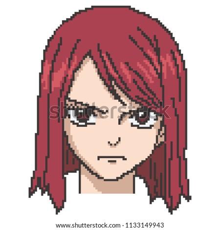 vector pixel art girl anime,cartoon
