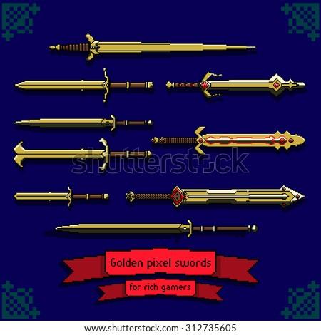 vector pixel art golden swords