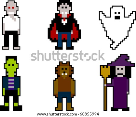 vector pixel art halloween