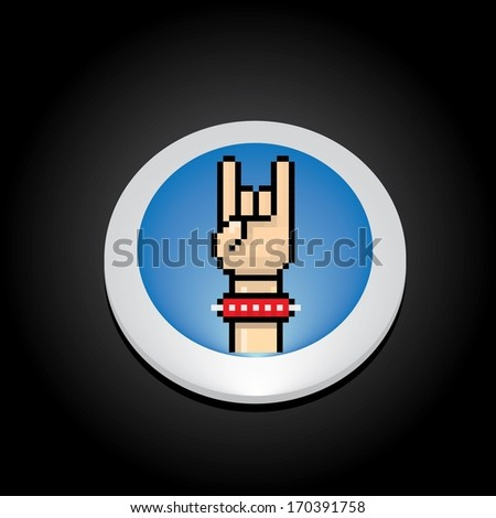 vector pixel art hand sign rock