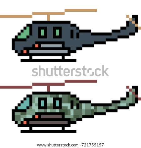 vector pixel art helicopter
