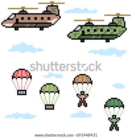 vector pixel art helicopter reinforcement set