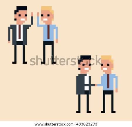 vector pixel art illustration two businessman hi-five and handshake on light yellow background