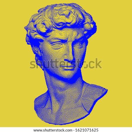 Vector pixel art ilustration with Michelangelo's David bust. Vaporwave and retrowave style, postmodern aesthetics with Renaissance antique Greek sculpture.