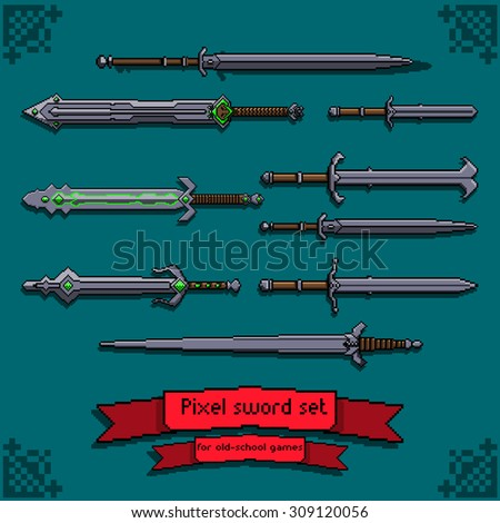 vector pixel art iron swords set