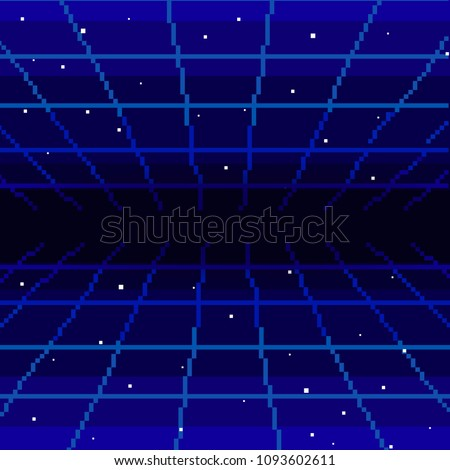 Vector pixel art of 80s Retro sci-Fi background. Pixel art background. 8bit