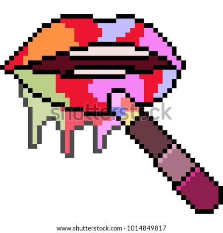vector pixel art rainbow lipstick isolated