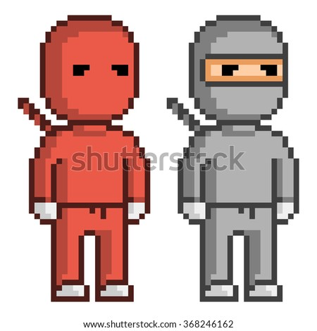 vector pixel art red and black
