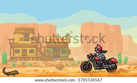 vector pixel art scene desert