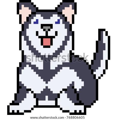 vector pixel art siberian husky