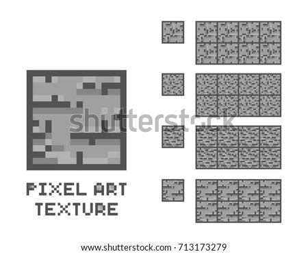 Vector pixel art stone texture. Stone wall pattern. Retro game element sprite.