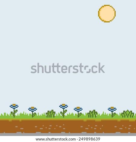 Vector pixel art sunny day