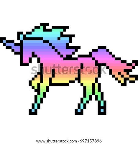 vector pixel art unicorn