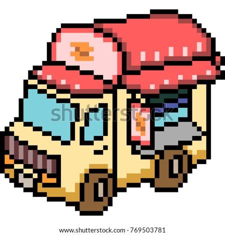 vector pixel art van truck