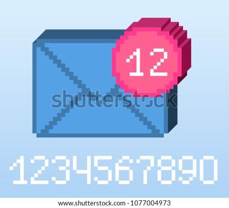 vector pixel 8 bit blue e mail