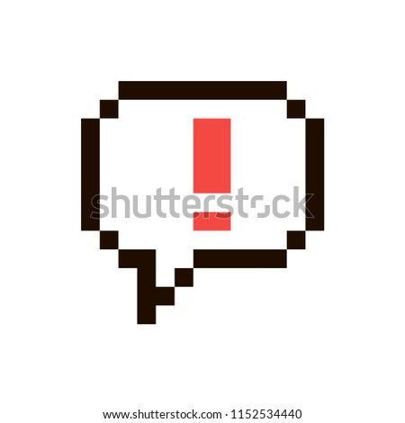 Vector pixel Exclamation point in speech buble isolated on white background. 80s-90s style design illustrations - great for stickers, embroidery, badges. Exclamation mark cartoon badge or logotype.