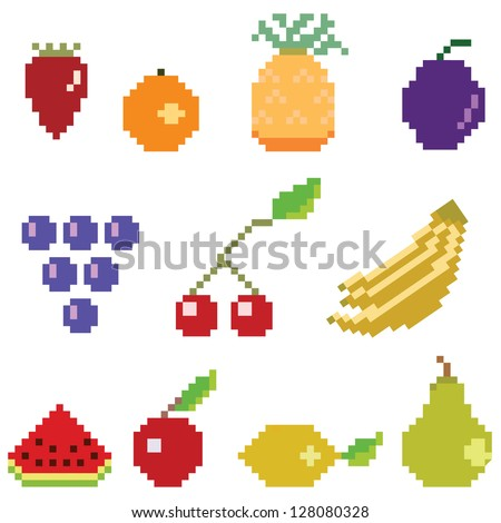 vector pixel fruit collection