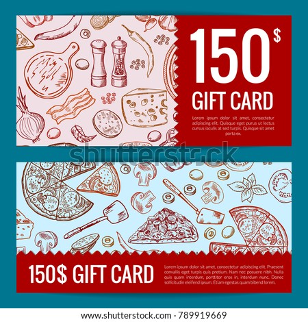 Vector pizza restaurant or shop giftcard or discount templates. Illustration of pizza dinner discount gift card Stock photo ©