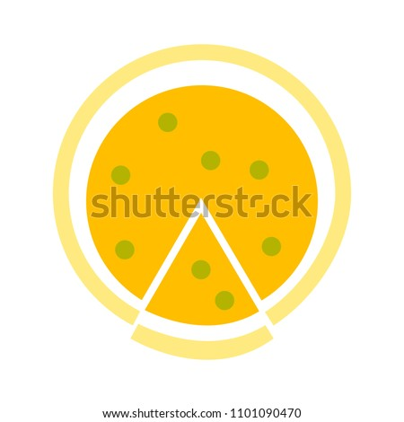 vector pizza slice illustration - fast food symbol isolated, pizza meal