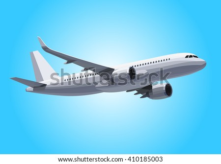 Vector Plane Concept In the Sky.Airplane Model flying