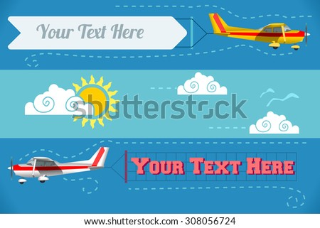 Vector Plane Flying Advertising Banner Pulled Light Plane Web Banner or Templates and Printable Materials Modern Flat Concept Design Vector Drawing Light 3d Illustration Airplane Vector