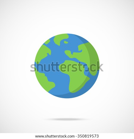 vector planet earth icon flat