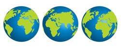 Vector planet earth icons. Globe isolated on a white background. Flat planet Earth icon.