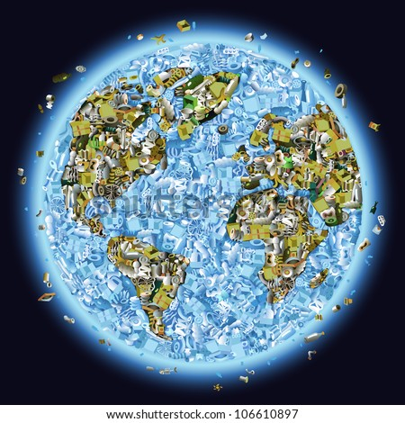 Vector planet earth piled with garbage as a concept of global pollution