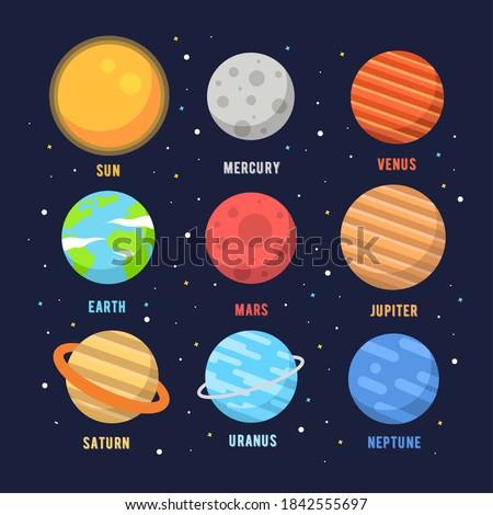 vector planet icon set of solar